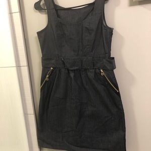 Ann Taylor dark wash thin denim mini dress